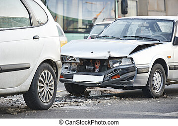 car crash collision accident on an city road