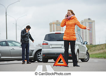 car crash collision - Car collision. driver man and woman...
