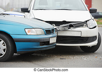 car crash collision in urban street - car crash accident on...