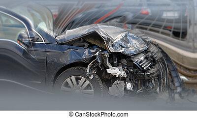crashed caron the street