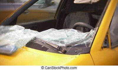Car crash. Damaged car in the parking lot.