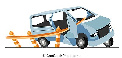 Car crash, damages vehicle collision with road limiter - ...