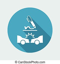 Car crash document sign - Vector flat icon
