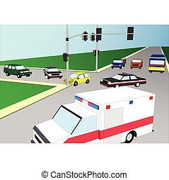 Car crash. Flat 3d