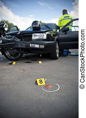 Car Crash Forensics - Forensics placard number 8 at an...