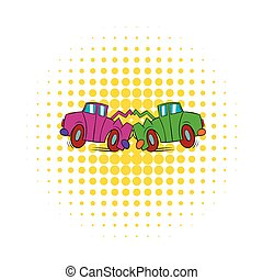Car crash icon in comics style