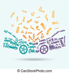 Car crash icons concept - Car crash auto collision vehicle...