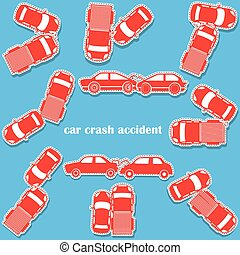 car crash icons in sticker format
