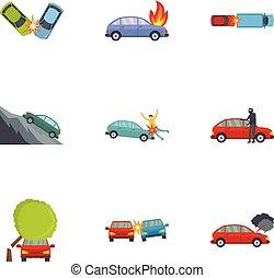 Car crash icons set, cartoon style