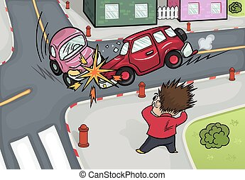 Car crash. - Illustration of a car accident at the...