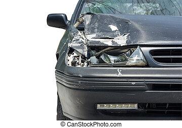 Car crash isolated on white background