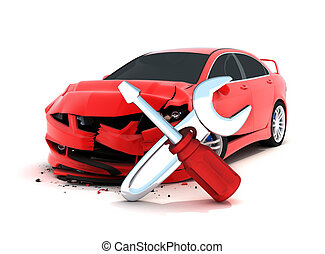 Car crash on white background (done in 3d)