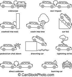 Car crash or insurance line icons