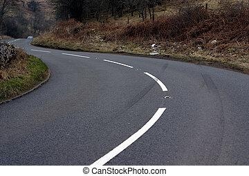 Car crash skid - car crash scene