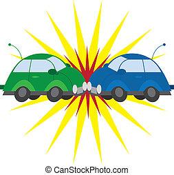 Car Crash - Two cars crashing with explosion