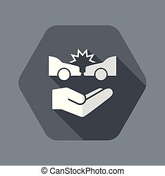 Car crash - Vector flat icon - Flat and isolated vector...