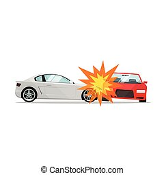 Car crash vector illustration, two automobiles collision, auto accident scene
