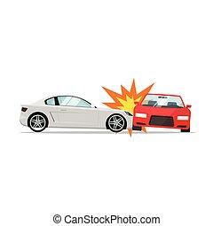 Car crash vector, two automobiles collision, auto accident scene