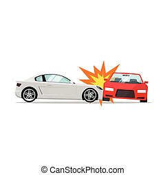 Car crash vector, two automobiles collision, auto accident scene