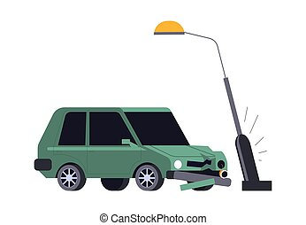 Car crash, vehicle hits streetlight, road accident isolated ...