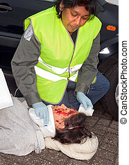 Car crash victim - Female car crash victim with whiplash...
