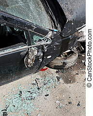 car crashed during road accident