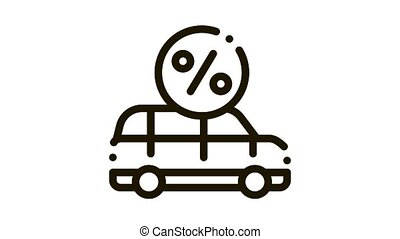 Car Credit Loan Icon Animation. black Car Credit Loan animated icon on white background