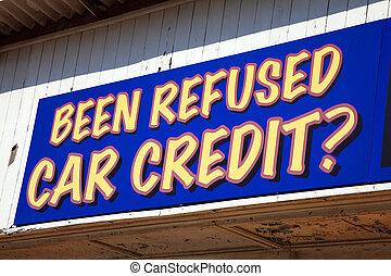 car credit sign