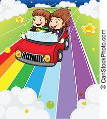 car, crianças, dois, vermelho, montando