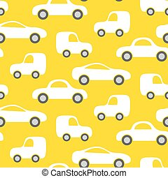 Car cute baby vector seamless pattern. Kid fabric and ...