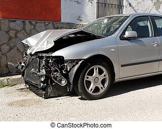 car, danificado, após, acidente