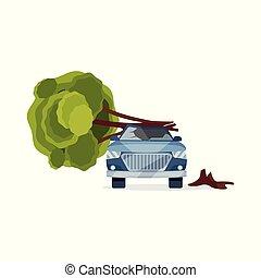 car, danificado, por, caído, árvore., azul, automóvel, com, quebrada, windshield., apartamento, vetorial, elemento, para, anunciando, bandeira, de, seguro, serviço