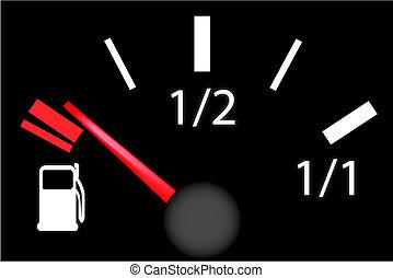 car dash board petrol meter, fuel gauge in empty gas tank...