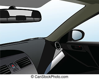 Car dashboard and interior of car. Vector illustration