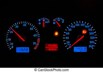 car dashboard - blue neon car dash board, isolated