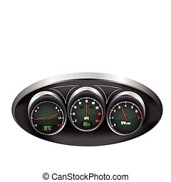 Car Dashboard Dials - a set of three car dials with...