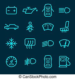Car dashboard icons set with warning lights fuel door seat...