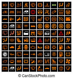 Car Dashboard Icons.