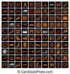 Car Dashboard Icons. Vector illustration.