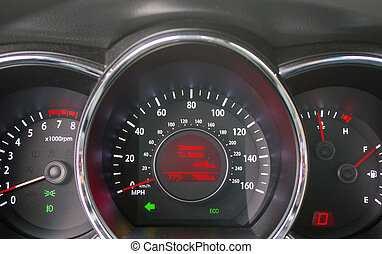 Car dashboard. Instruments, speedometer, control check