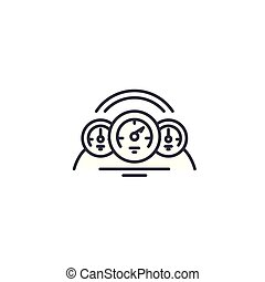 Car dashboard linear icon concept. Car dashboard line vector sign, symbol, illustration.