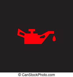 Car dashboard panel icon on a black background. Engine oil...