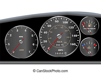 Car dashboard speedometer for motor or sportscar...