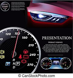 Car Dashboard. The background of automobile headlights.EPS10