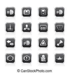 Car Dashboard - simple vector icons set