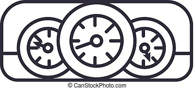 car dashboard vector line icon, sign, illustration on background, editable strokes