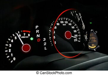 Car dashboard with high speed movement