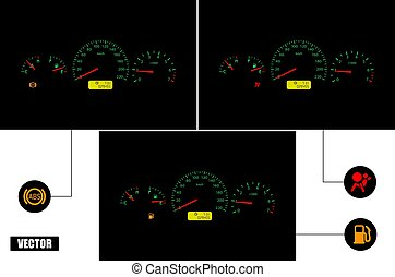 Car dashboard with indicators: ABS, airbag, fuel.
