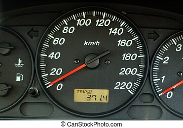 A close up of car dashboard with speed over black background