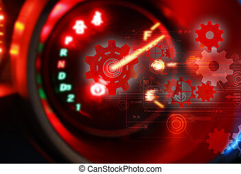 Car Dashboard.futuristic technology background,gear wheel on circuit board